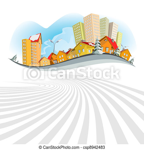 Abstract vector city - winter - csp8942483