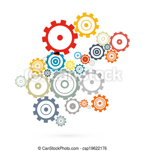 Abstract Vector Cogs - Gears Isolated on White Background - csp19622176