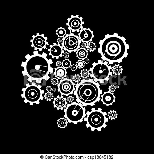 Abstract Vector Cogs - Gears on Black Background - csp18645182