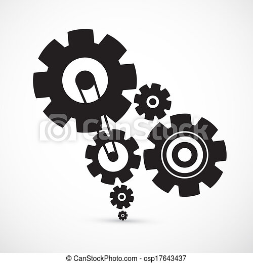 Abstract Vector Cogs - Gears on Grey Background - csp17643437