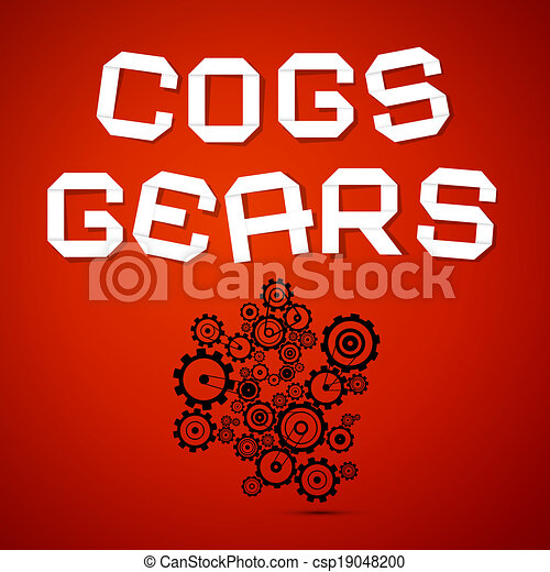 Abstract Vector Cogs - Gears on Red Background - csp19048200