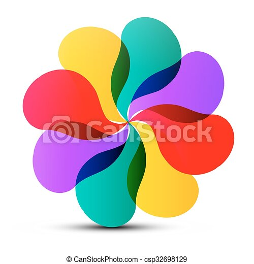Abstract Vector Colorful Transparent Flower Shape Isolated on White Background - csp32698129