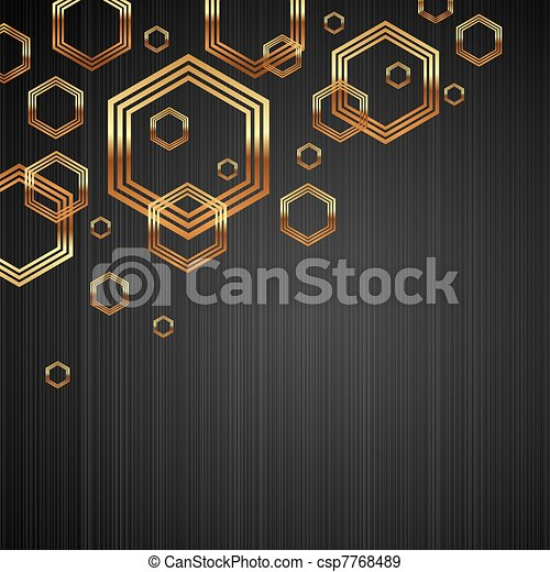 Abstract vector dark metal texture background with golden shiny & luxury hexagon shapes - csp7768489