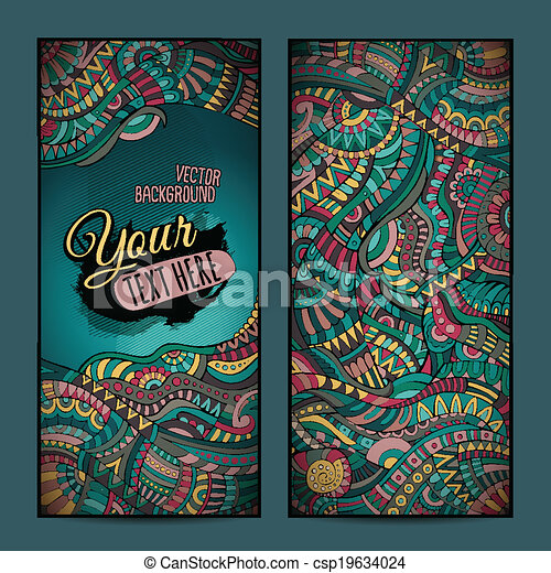 Abstract vector decorative ethnic ornamental backgrounds. - csp19634024