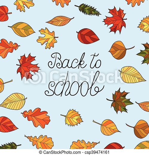 Abstract Vector Doodle Autumn Leaves Background Back To School