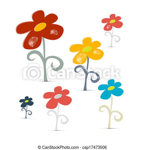 Abstract Vector Flowers Isolated on White Background - csp17473506