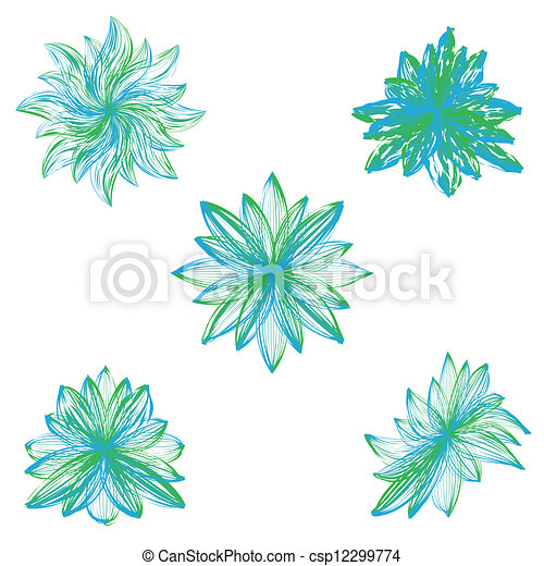Abstract vector flowers on white background. - csp12299774