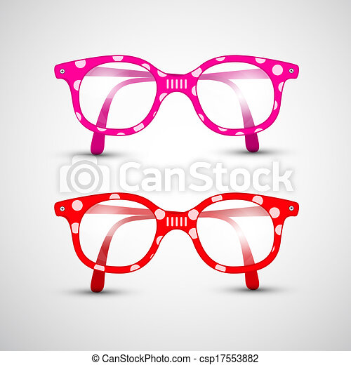 Abstract Vector Funny Red, Pink Glasses with Dots - csp17553882