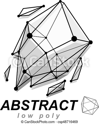 Abstract vector geometric form, 3d shape. communication ...