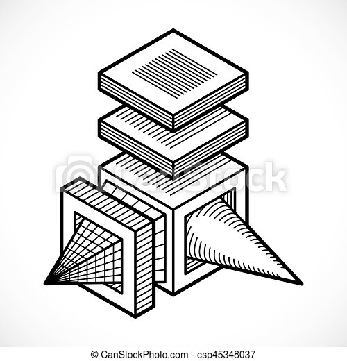 Abstract vector geometric form, 3d shape.