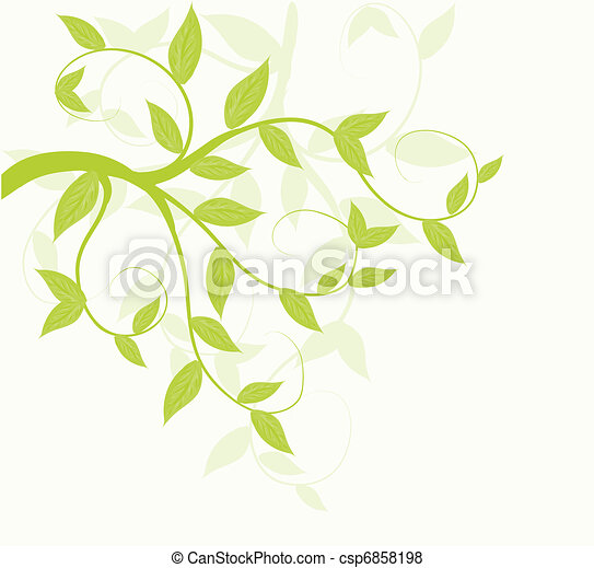 Abstract vector green leaves floral background. - csp6858198