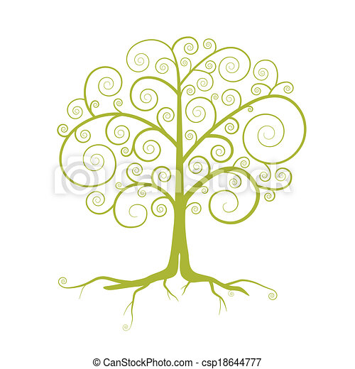 Abstract Vector Green Tree Illustration Isolated on White Background - csp18644777