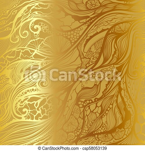 Abstract vector hand drawn doodle pattern. Gold background. - csp58053139