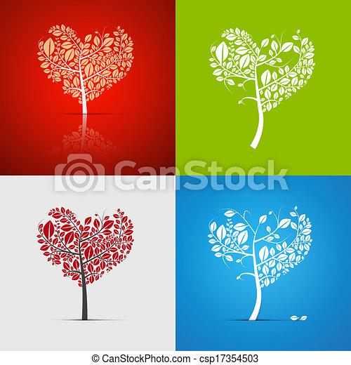 Abstract Vector Heart-Shaped Tree Set - csp17354503