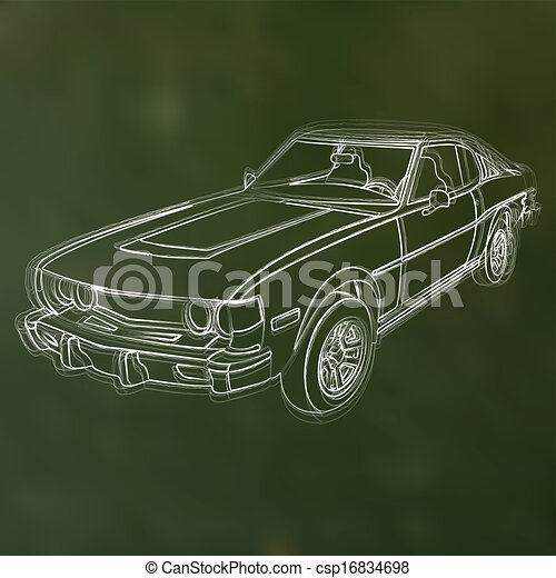 Abstract vector illustration of a chalk sketched car - csp16834698