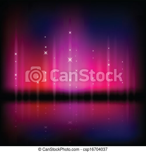 Abstract vector illustration of a northern light type sky - csp16704037