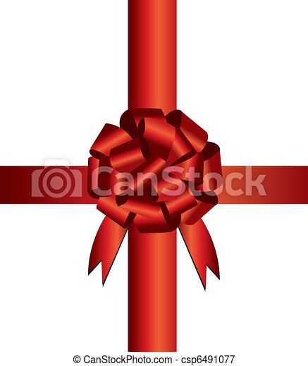 Abstract vector illustration of a red christmas bow - csp6491077