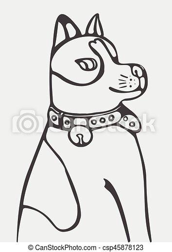 abstract vector illustration of cartoon dog - csp45878123