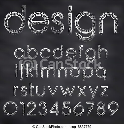 Abstract vector illustration of chalk sketched font on blackboard - csp16837779