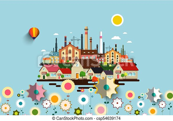 Abstract Vector Industrial City with Flowers - csp54639174