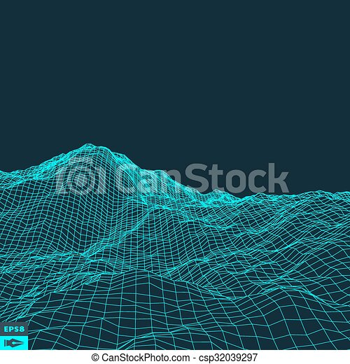 Abstract vector landscape background. Cyberspace grid. 3d technology vector illustration. - csp32039297