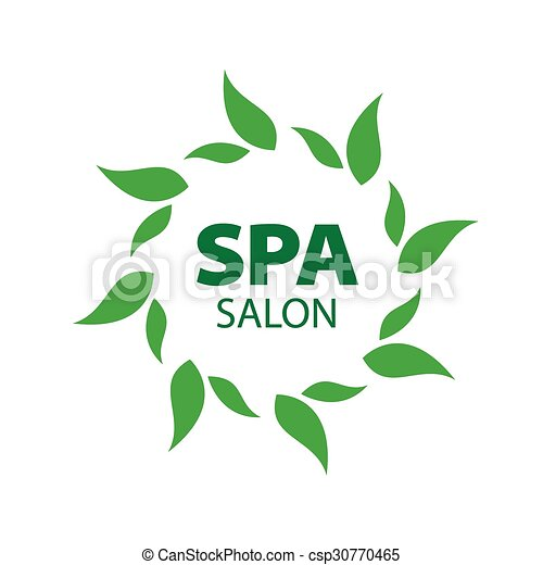 Abstract vector logo with green leaves - csp30770465