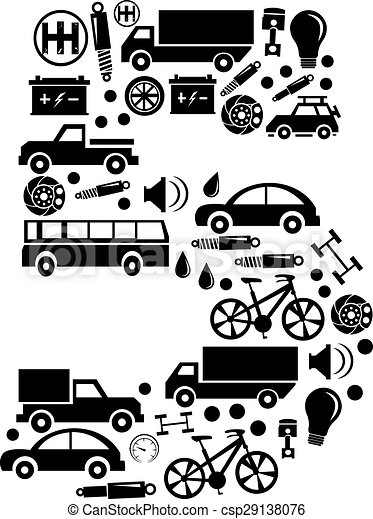 Abstract vector number 5 made from car icon - alphabet set - csp29138076