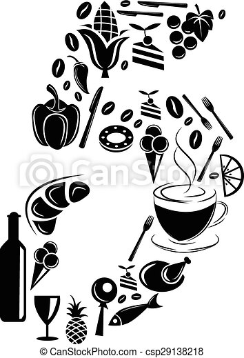Abstract vector number 5 made from Food icon - alphabet set - csp29138218