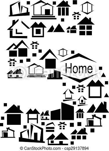 Abstract vector number 5 made from house icon - alphabet set. - csp29137894
