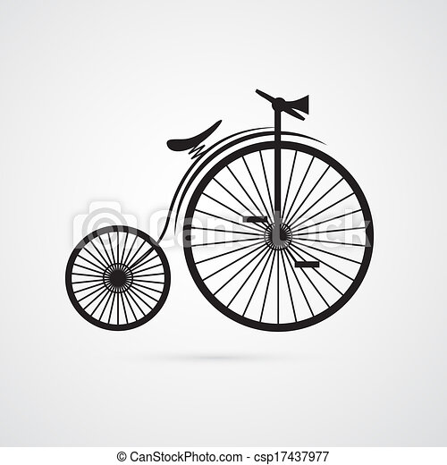 Abstract Vector Old, Vintage Bicycle, Bike Isolated on White Background  - csp17437977