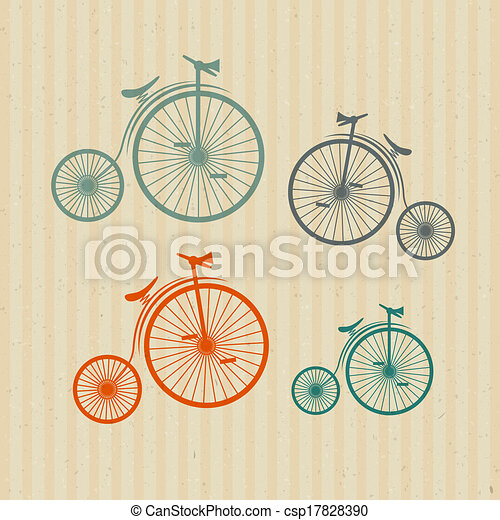 Abstract Vector Old, Vintage Bicycles, Bikes on Recycled Paper Background  - csp17828390
