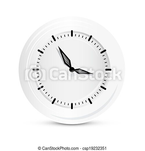 Abstract Vector Paper Clock Isolated on White Background - csp19232351
