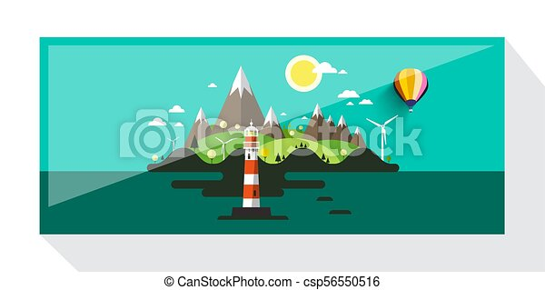Abstract Vector Picture of Island with Hills and Lighthouse. Flat Design Landscape. - csp56550516