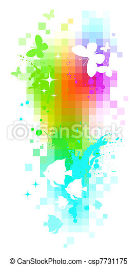 Abstract vector pixel background - butterflies & tropical fishes - csp7731175