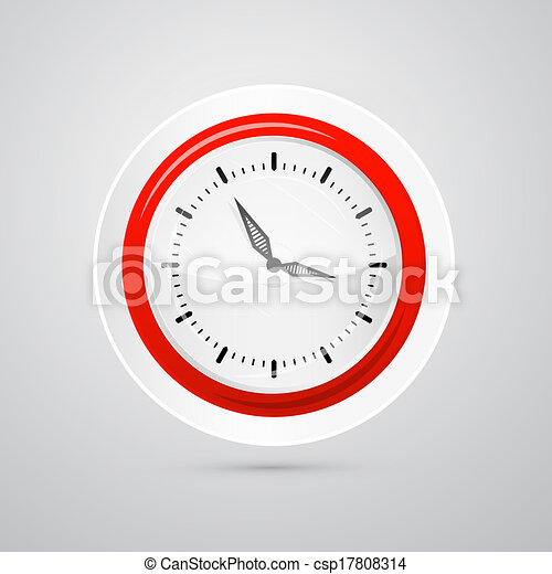 Abstract Vector Red and White Clock Isolated on White Background  - csp17808314