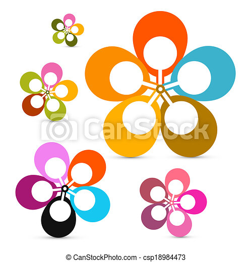 Abstract Vector Retro Flowers Set Isolated on White Background  - csp18984473