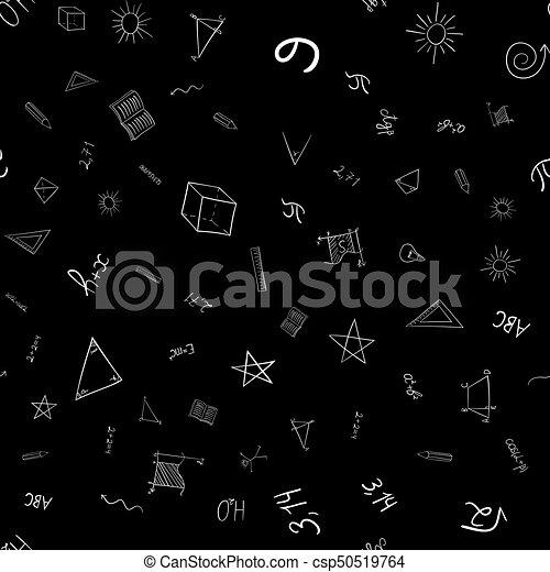abstract vector school doodles seamless pattern - csp50519764