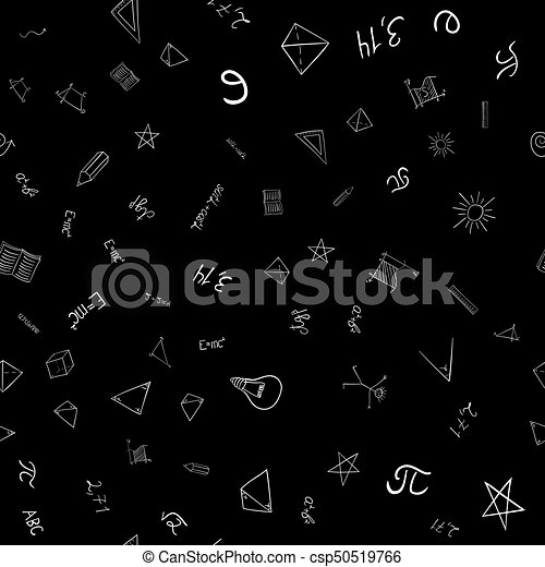 abstract vector school doodles seamless pattern - csp50519766