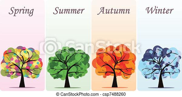 Abstract vector seasonal trees  - csp7488260