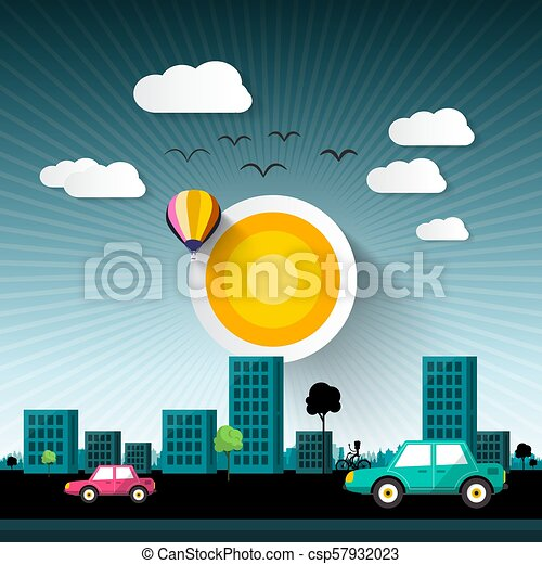 Abstract Vector Sunset City with Buildings and Cars on Stret - csp57932023