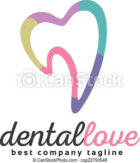 Abstract vector tooth logo icon similar human heart concept. Good as logotype template design - csp22793548