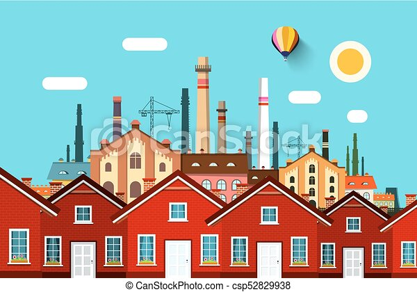 Abstract Vector Town with Factory on Background - csp52829938