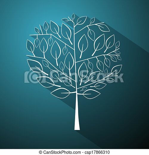 Abstract Vector Tree Illustration on Blue Background - csp17866310