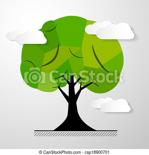 Abstract Vector Tree Isolated on White Background - csp18900701