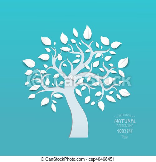 Abstract vector tree on blue background - csp40468451