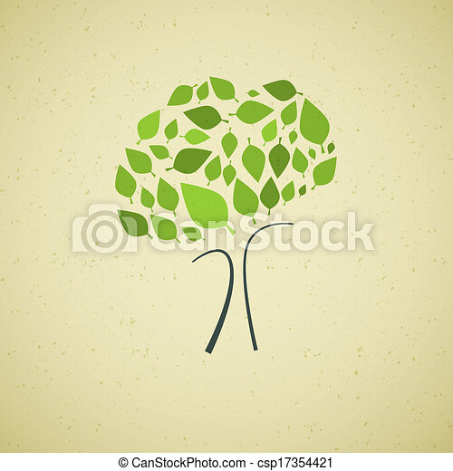 Abstract Vector Tree on Recycled Paper Background - csp17354421