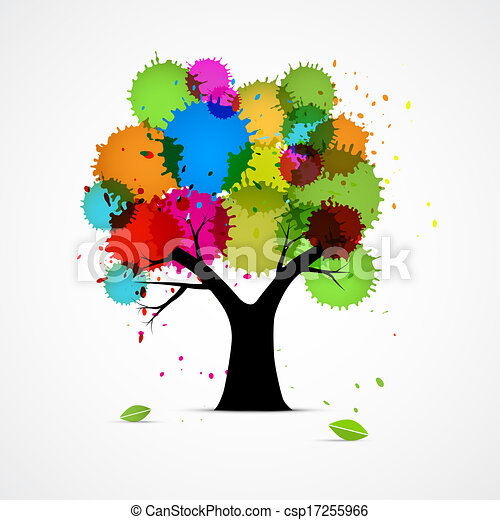 Abstract Vector Tree With Colorful Blobs, Splashes  - csp17255966