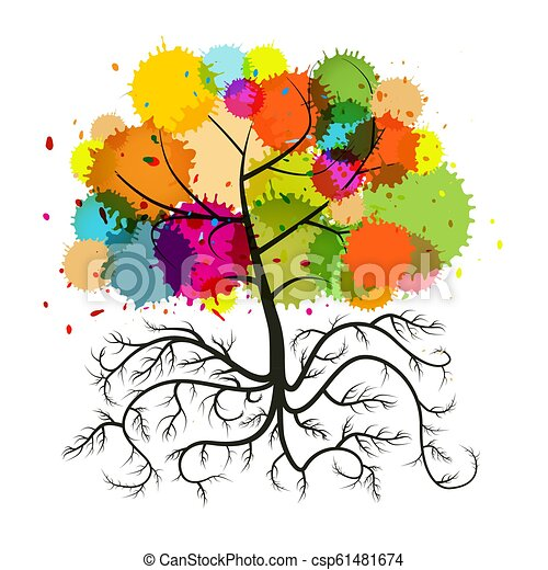 Abstract Vector Tree with Roots and Colorful Splashes Isolated on White Background - csp61481674