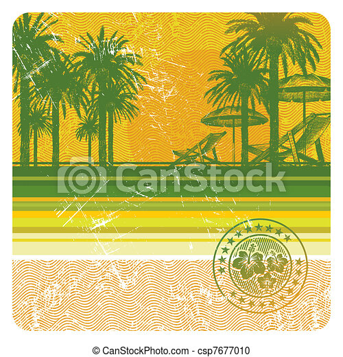 Abstract vector tropical beach with palms, chair and umbrella - csp7677010