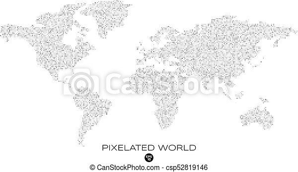 Abstract vector world map pixelated world map with noised eps abstract vector world map gumiabroncs Gallery
